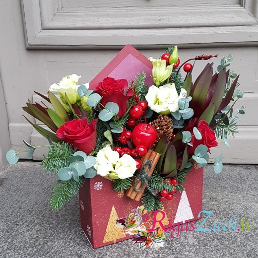 Holiday composition Red gift box