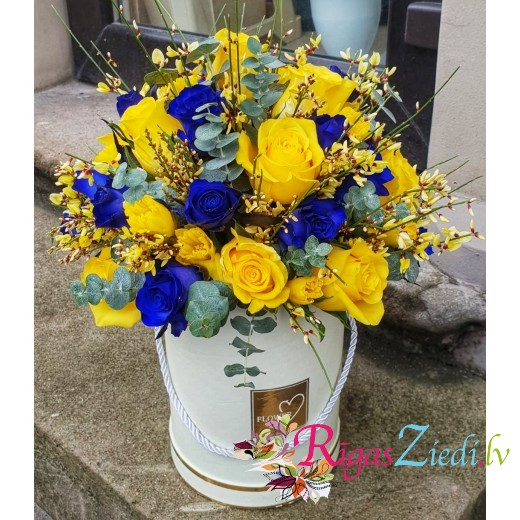 Flower box with yellow and blue flowers