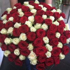 101 red and white rose bouquet