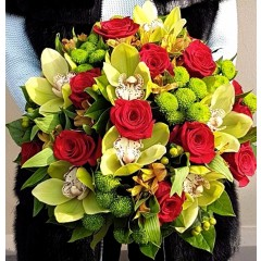 Gentle green orchid and red rose bouquet