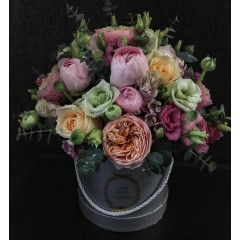 Flower box with roses Vuvuzela and ranunculus