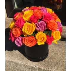 Colourfull roses in box
