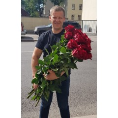 Exclusive red roses, length 90cm