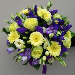 Blue iris, rose and gerbera bouquet