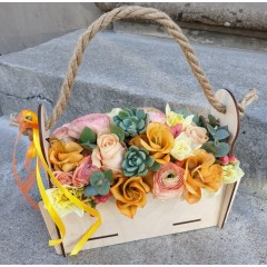 Flowers in wooden box Orange