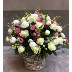 Big basket of peonies, roses and snapdragon