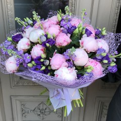 Peony, matthiola and lisianthus bouquet