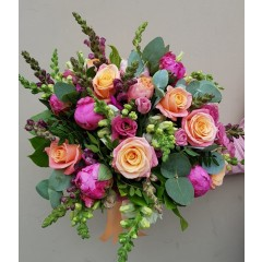Rose and peony flower bouquet