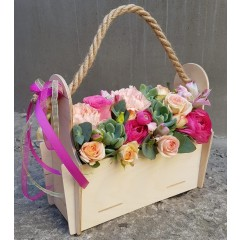 Flowers in wooden box Pink
