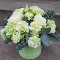 Composition with green carnations