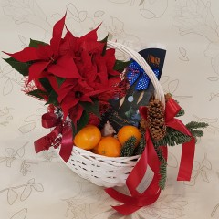 Christmas composition in a basket