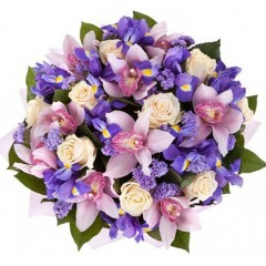 Bouquet with Orchids and Irises